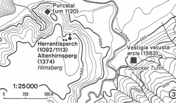 Karte aus dem Bayer. Staatsarchiv: Standort der beiden Burgen