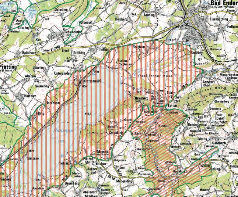 Hirnsberg liegt zwischen zwei Landschaftsschutzgebieten (rot schraffiert)