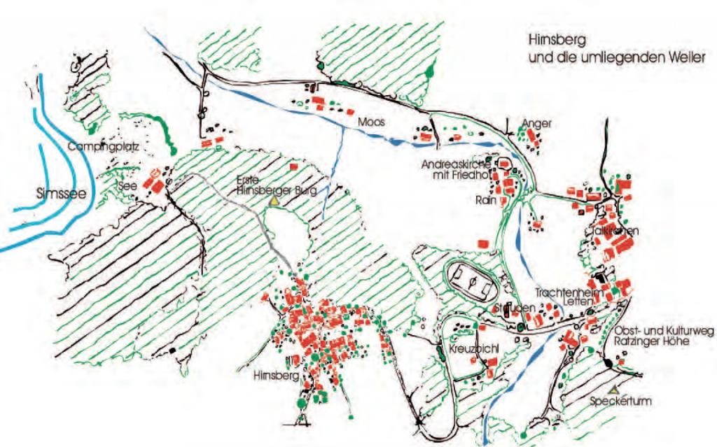 Hirnsberg und die umliegenden Weiler der ehemaligen Gemeinde Hirnsberg